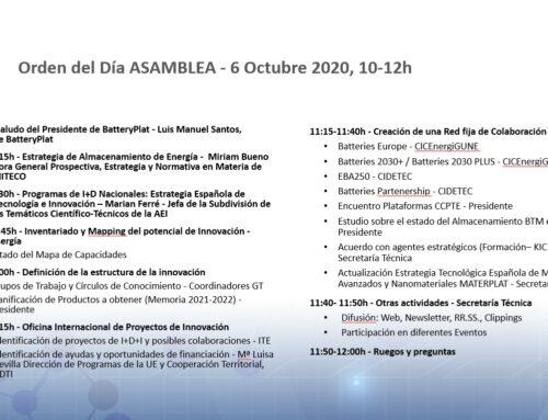 2ª Asamblea de la Plataforma Tecnológica Española BatteryPlat
